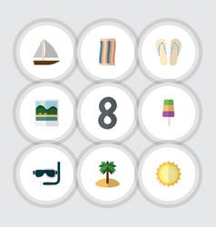 Flat icon season set of coconut beach sandals vector