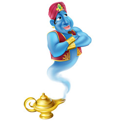 Friendly jinn or genie and magic oil lamp vector