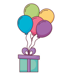 gift box present with balloons helium vector image