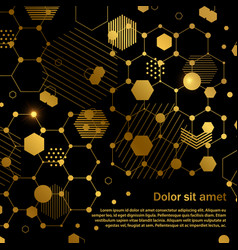 Golden honeycomb abstract geometric background vector
