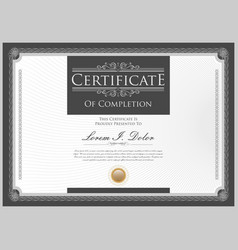 gray certificate or diploma template vector image