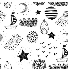 Hand drawn nautical seamless background vector