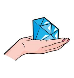 Hand holding diamond vector
