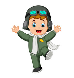 Happy boy wearing pilot costume and jump vector