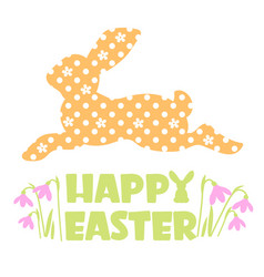happy easter text with rabbit silhouette vector image