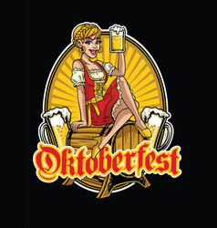 Happy girl of oktoberfest presenting the beer vector
