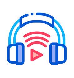 headphones host device icon outline vector image
