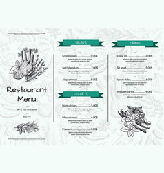 horizontal restaurant or cafe menu template vector image