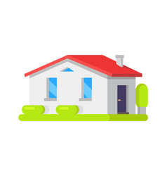 house surrounded bushes vector image