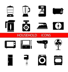 Household Icons and Symbols Isolated Silhouette vector image
