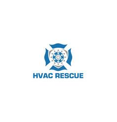 Hvac rescue logo design vector