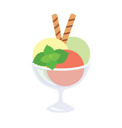 ice cream in a glass with mint and waffle tubes vector image