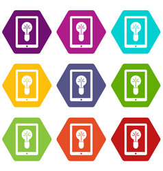 idea lamp on gadget screen icon set color vector image