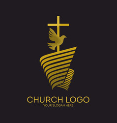 Jesus cross and dove holy spirit vector