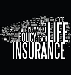 life insurance explained text background word vector image