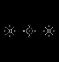 magic geometry white symbol set circle square vector image