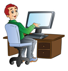 man using a desktop computer vector image