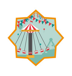 Mechanical swing chair with party flags inside vector