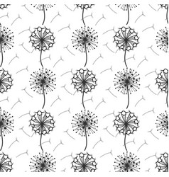 Monochrome dandelion flowers and seeds seamless vector
