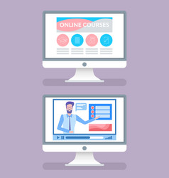 Online courses screens with tutors on videos set vector
