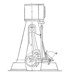 Outline of a steam engine marshall gear reducing vector