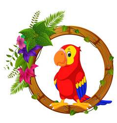 Parrot on round wood frame with flower vector