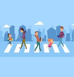 people cross road teenagers children vector image
