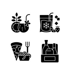 Pickup and delivery option black glyph icons set vector