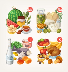 Products rich with vitamins and minerals vector