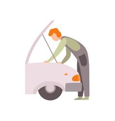 Professional repairman repairing car auto vector