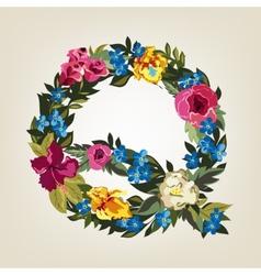 Q letter Flower capital alphabet Colorful font vector