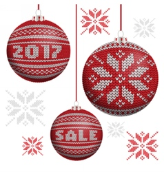 Red knitted Christmas balls vector image