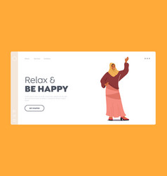 Relax and be happy landing page template arab vector