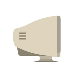 Retro monitor computer side view device equipment vector