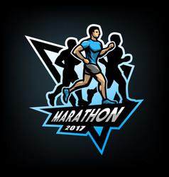 Running marathon emblem vector