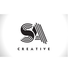 Sa logo letter with black lines design line letter vector