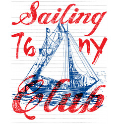sailing club tee poster graphic vector image