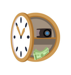 secret safe in the form of a wall clock safety vector image