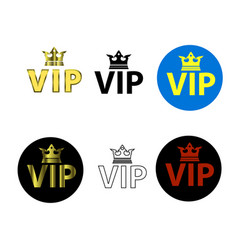 set of different vip icons vector image