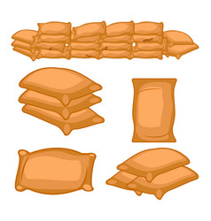 set of full farmers sack cartoon vector image