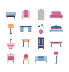 set of furniture and home decor icons vector image