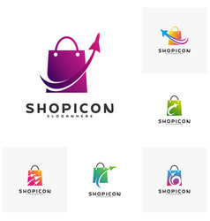 Set of travel shop logo template design vector