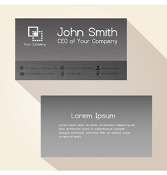 Simple brushed metal texture business card design vector