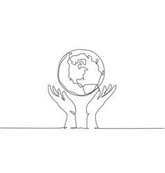 single one line drawing hands holding earth vector image