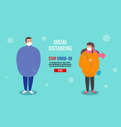 social distancing concept people keeping vector image