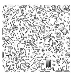 space doodles robot and technic doodles vector image