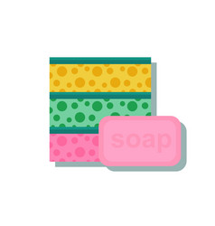 Sponge with a piece of soap vector