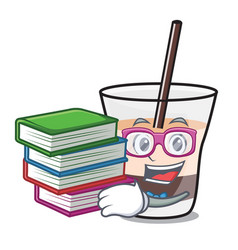 Student with book white russian mascot cartoon vector