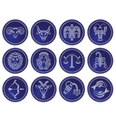 twelve astrological signs isolated icon zodiac vector image