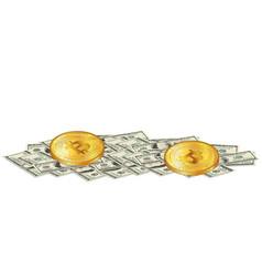 Two golden bitcoin coins lies on pile 100 usd vector